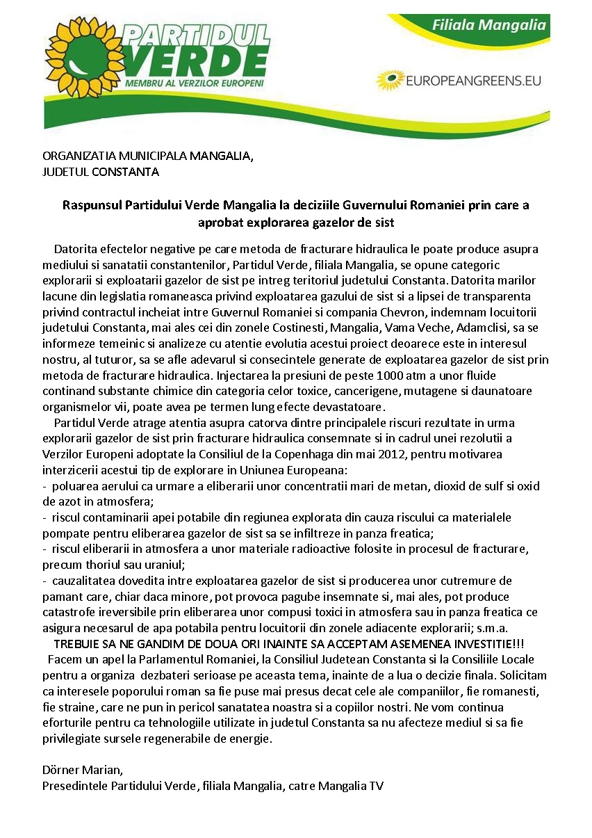 Partidul Verde Mangalia gaze de sist